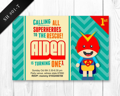 PRINTABLE Superhero Invitation - Birthday invite for boys superhero party (DIGITAL)