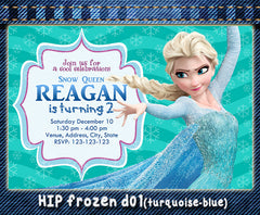 Digital Frozen birthday Invitation, Elsa and Anna printable invites