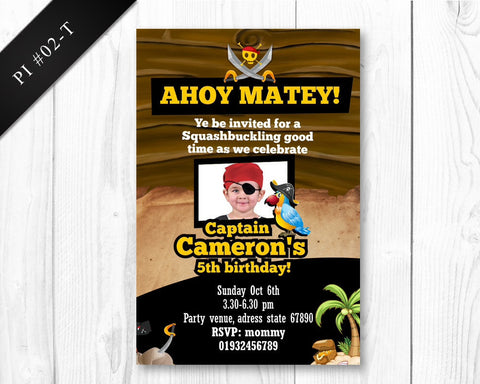 Pirate photo Invitation - Birthday printable invite for boys pirate party