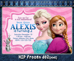 Digital Frozen birthday Invitation, Elsa and Anna printable invite