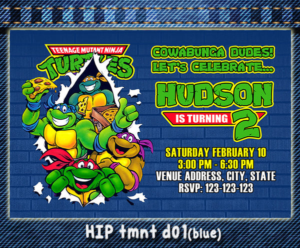 image about Ninja Turtles Birthday Invitations Printable known as TMNT Teenage Mutant Ninja Turtles Birthday Invites
