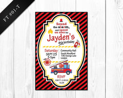 DIY Firetruck Invitation - Birthday printable invite for boys firetruck party