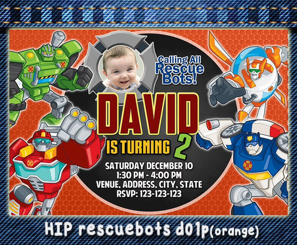 Digital Rescue Bots Invitation - Rescue bots Birthday Rescue bots printable invite