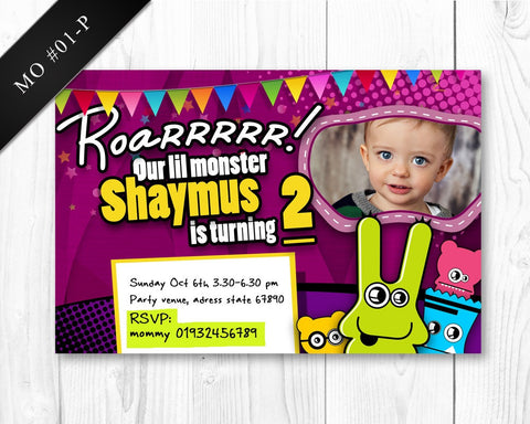 Monster Photo Invitation - Birthday printable invite for boys monster party