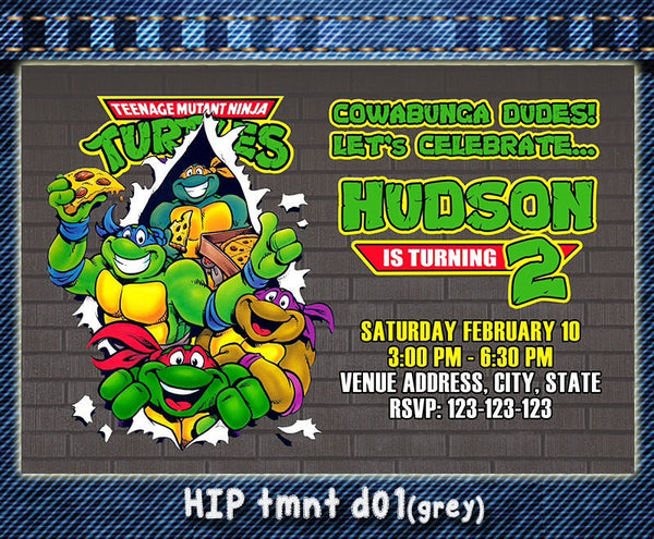 TMNT Teenage Mutant Ninja Turtles Invitations- Ninja Turtles Birthday Party - Ninja Turtles photo invite (6x4 or 7x5)