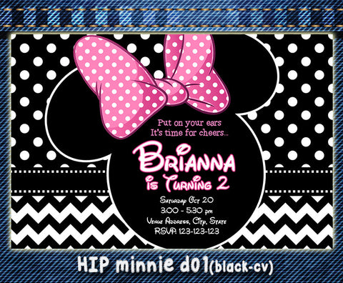 MINNIE MOUSE Birthday Party Invitation  (Choose 1 design)