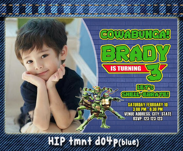 TMNT Teenage Mutant Ninja Turtles Photo Invitations- Ninja Turtles Birthday