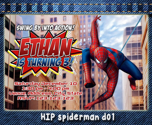 Digital Spiderman Invitation - Spiderman Birthday, Spiderman printable invite (6x4)