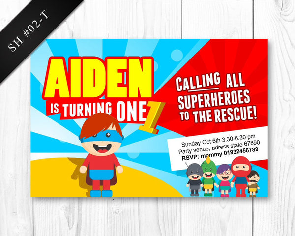 DIGITAL Superhero Invitation - Birthday invite for boys superhero party