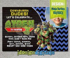 BOYS TMNT Teenage Mutant Ninja Turtles Birthday Photo Invitations- Ninja Turtles Birthday Party - Ninja Turtles photo invite (6x4 or 7x5)