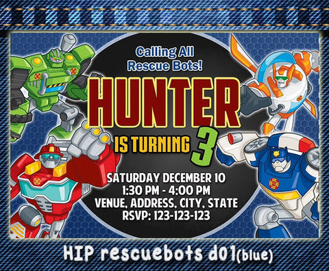 Digital Rescue Bots birthday Invitation, Rescue bots printable invite