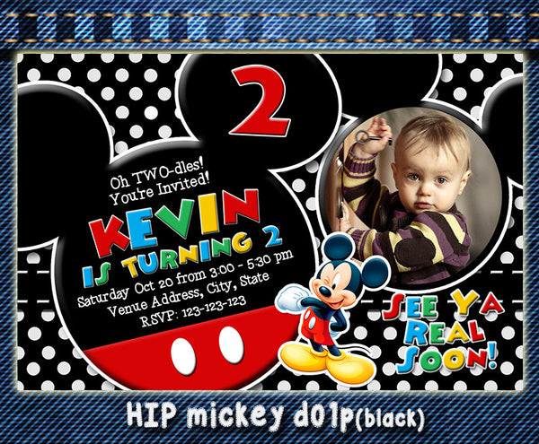 Mickey Mouse PRINTABLE photo birthday Invitation For Mickey Mouse Birthday Party (PolkaDot)
