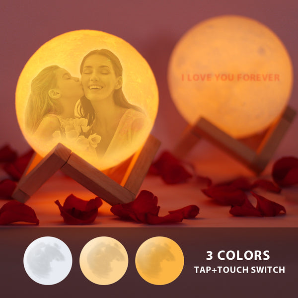 Custom Moon Lamp| Mom's Gift | Tap to Convert 3 Colors |Engraved 3D Photo