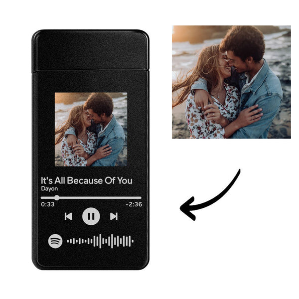 Custom Spotify Electric Cigarette Heart Photo Engraved Lighter USB Power