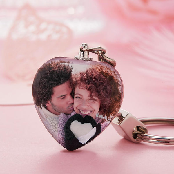 Custom Crystal Photo Keyring - Heart-For Lover