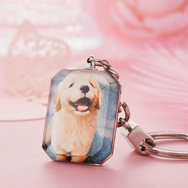 Custom Crystal Photo Keyring - Rectangle For Pet