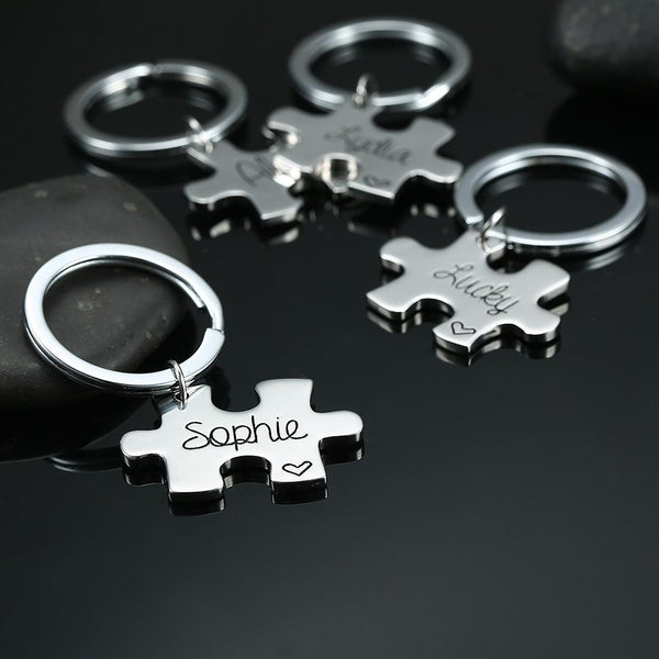 Keychain with Custom Engraved Name Puzzle