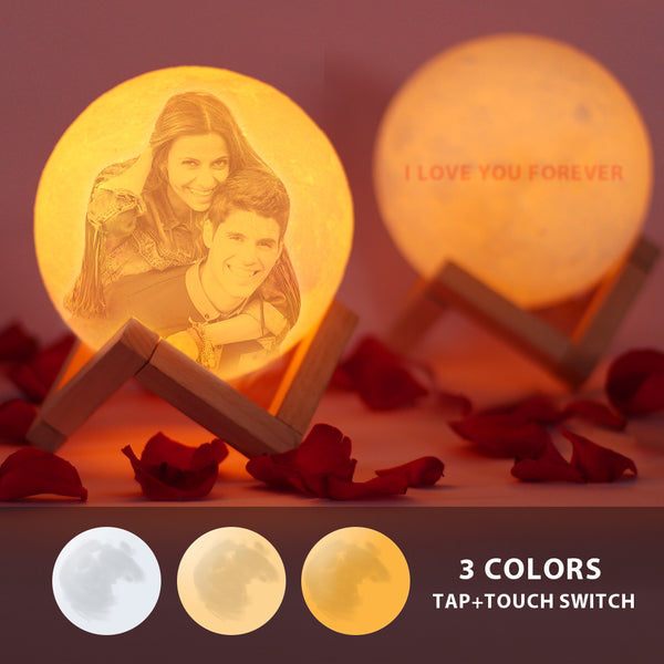 Personalized  Moon Lamp | Tap to Convert 3 Colors|Engraved 3D Printing Photo