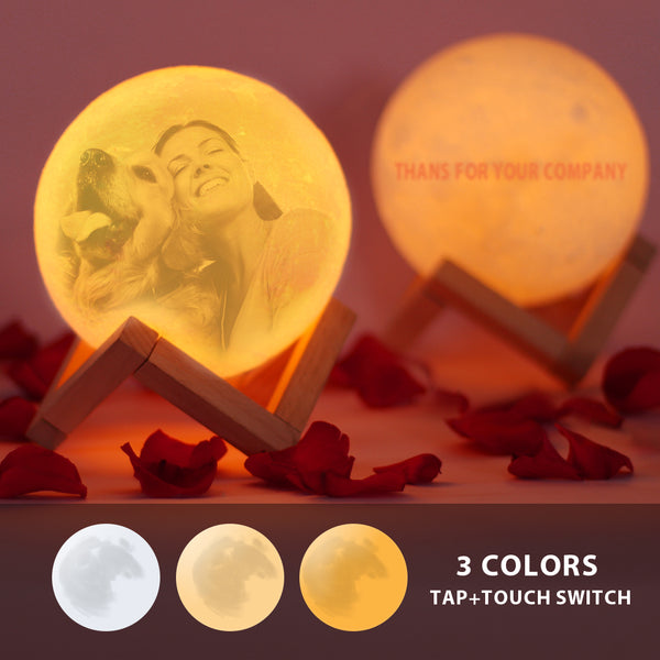 Custom  Moon Lamp | Touch to Convert 3 Colors| Engraved 3D Printing Photo