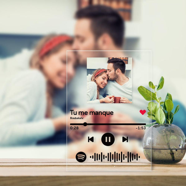 Personalized Spotify Glass Music Plaques Scannable Spotify Code Frame(4.7in x 6.3in)