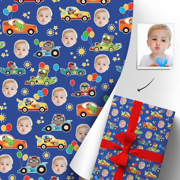 Custom Face Christmas Gift Wrapping Paper For Kids