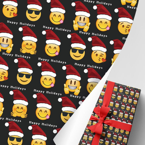 Christmas Gift Wrapping Paper Santa Hat With Emoji