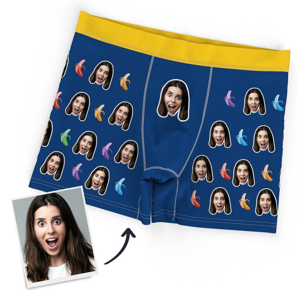 Men's Custom Face Boxer Shorts, Put Face On Underwear-Banana
