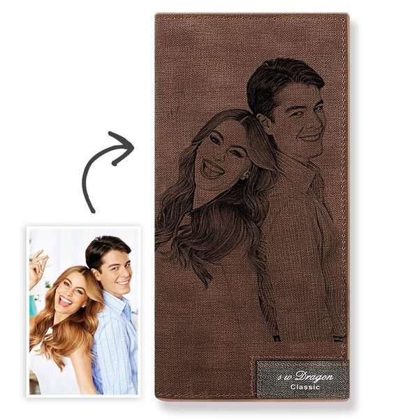 Custom Wallet | Personalized Photo Engraved Wallet | Bifold Lerther Long Wallet | Christmas Gift for Couple