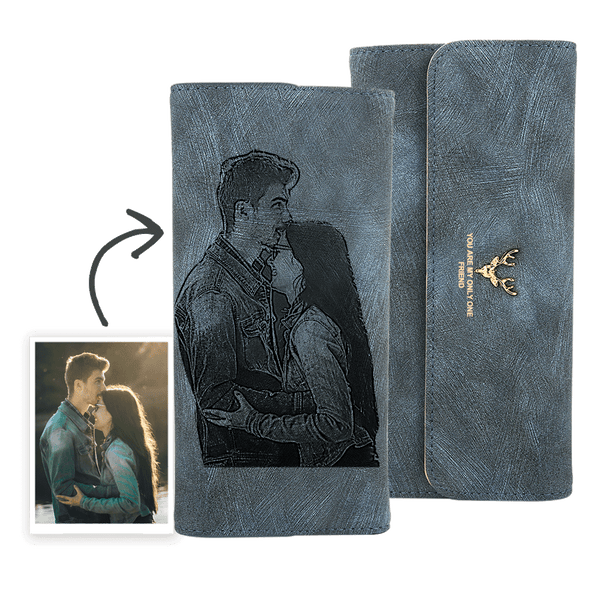 Personalized Photo Engraved Trifold Photo Wallet |  Custom Blue Leather Wallet | Best Christmas Gift For Women