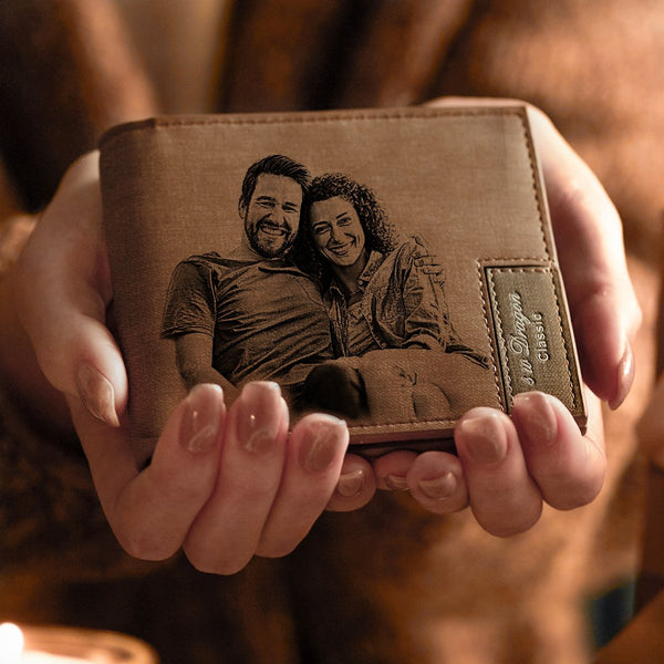Custom Leather Wallet | Personalized Photo Engraved Wallet | Bifold Wallet