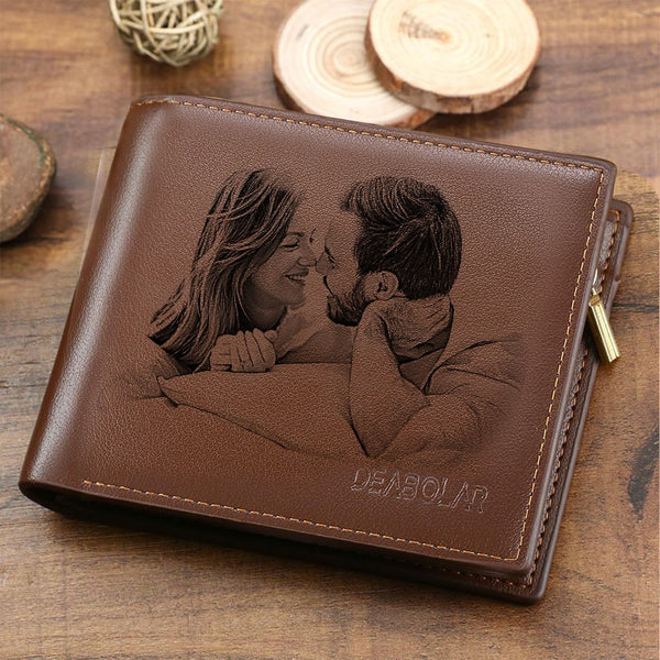 Custom Wallet | Personalized Photo Engraved Wallet | Tri-fold Lerther Wallet | Valentine's Day Gift
