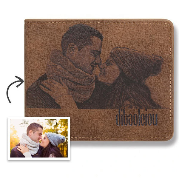 Custom Wallet | Photo Engraved Wallet | Personalized Bifold Leather Wallet | Best Christmas Gift For Men