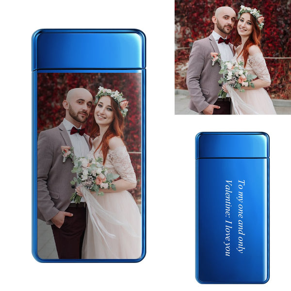 Electroplated Blue | Custom Engraved Photo Lighter |  Color Screen | Electronic Cigarette Lighter