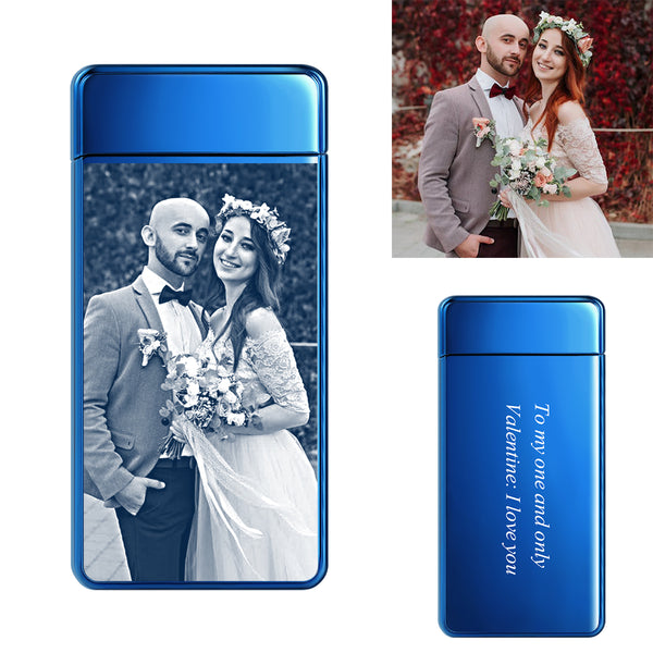 Electroplated Blue | Custom Engraved Photo Lighter | Electronic Cigarette Lighter