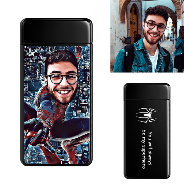 Black | Custom Engraved Photo Lighter |  Color Screen | Spiderman