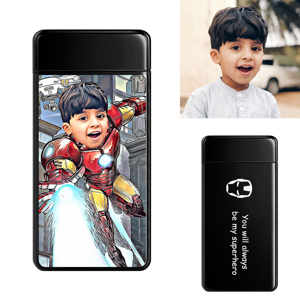 Black | Custom Engraved Photo Lighter |  Color Screen | Iron Man