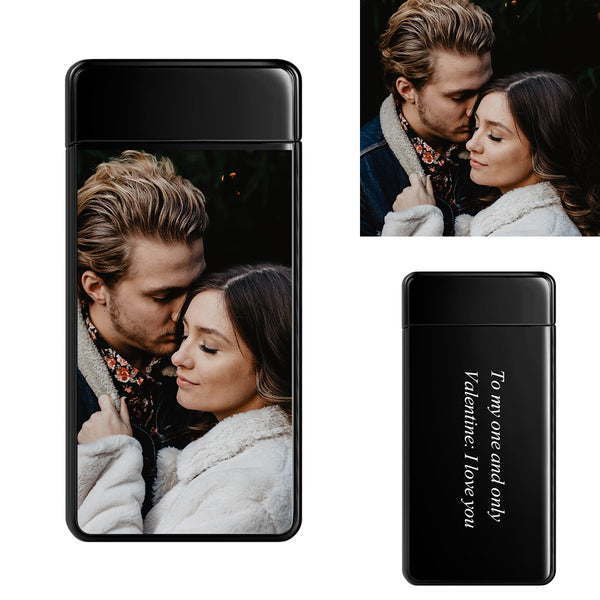 Black | Custom Engraved Photo Lighter |  Color Screen | Electronic Cigarette Lighter