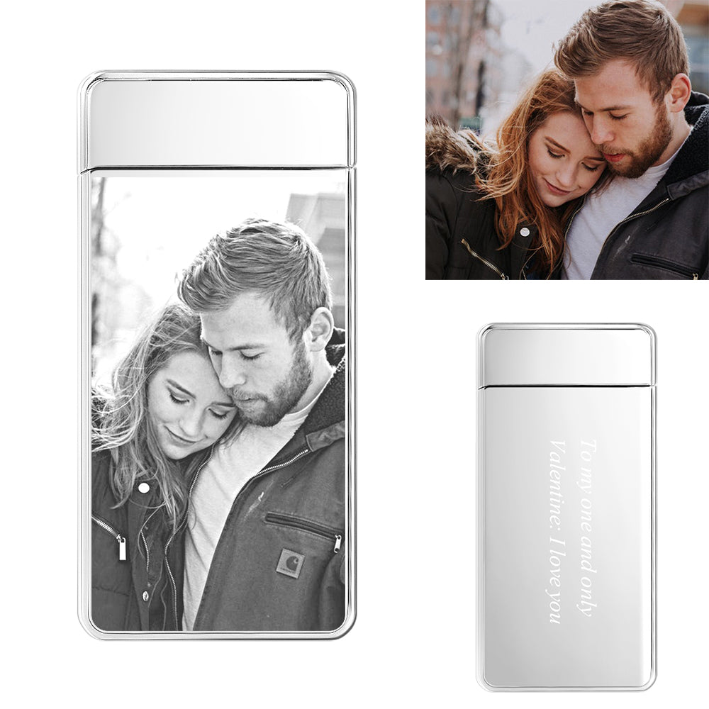 Silver | Custom Engraved Photo Lighter | Electronic Cigarette Lighter