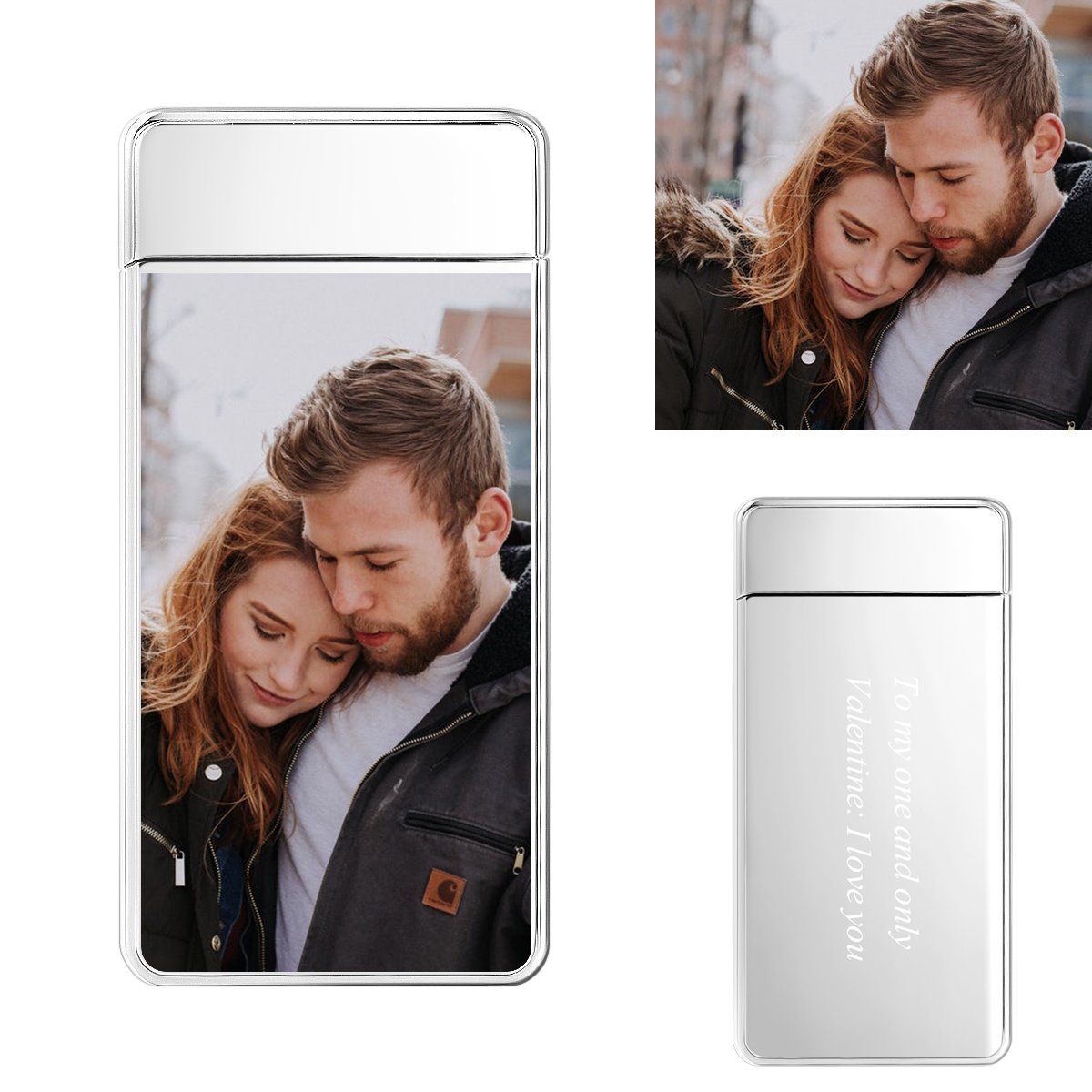 Silver | Custom Engraved Photo Lighter |  Color Screen |  Electronic Cigarette Lighter