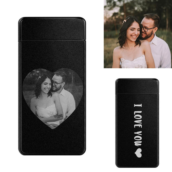 Custom Electric Cigarette Heart Photo Engraved Lighter USB Power