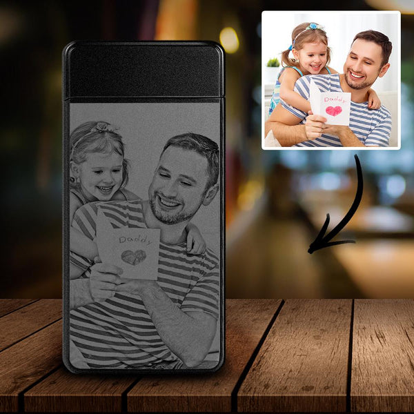 Scrub Black | Custom Engraved Photo Lighter | Electronic Cigarette Lighter | Best Gift For Dad