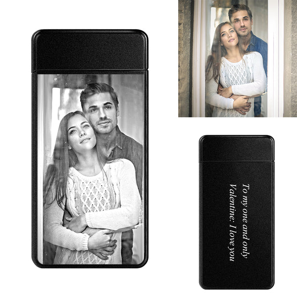 Scrub Black | Custom Engraved Photo Lighter | Electronic Cigarette Lighter | For Boyfriend