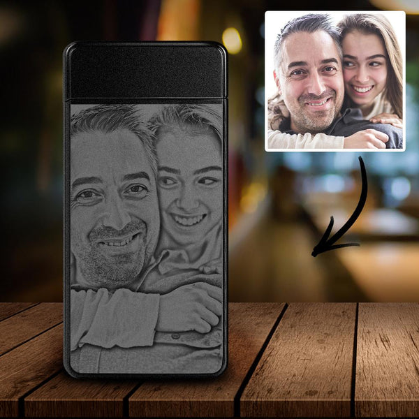 Scrub Black | Custom Engraved Photo Lighter | Electronic Cigarette Lighter | For Father
