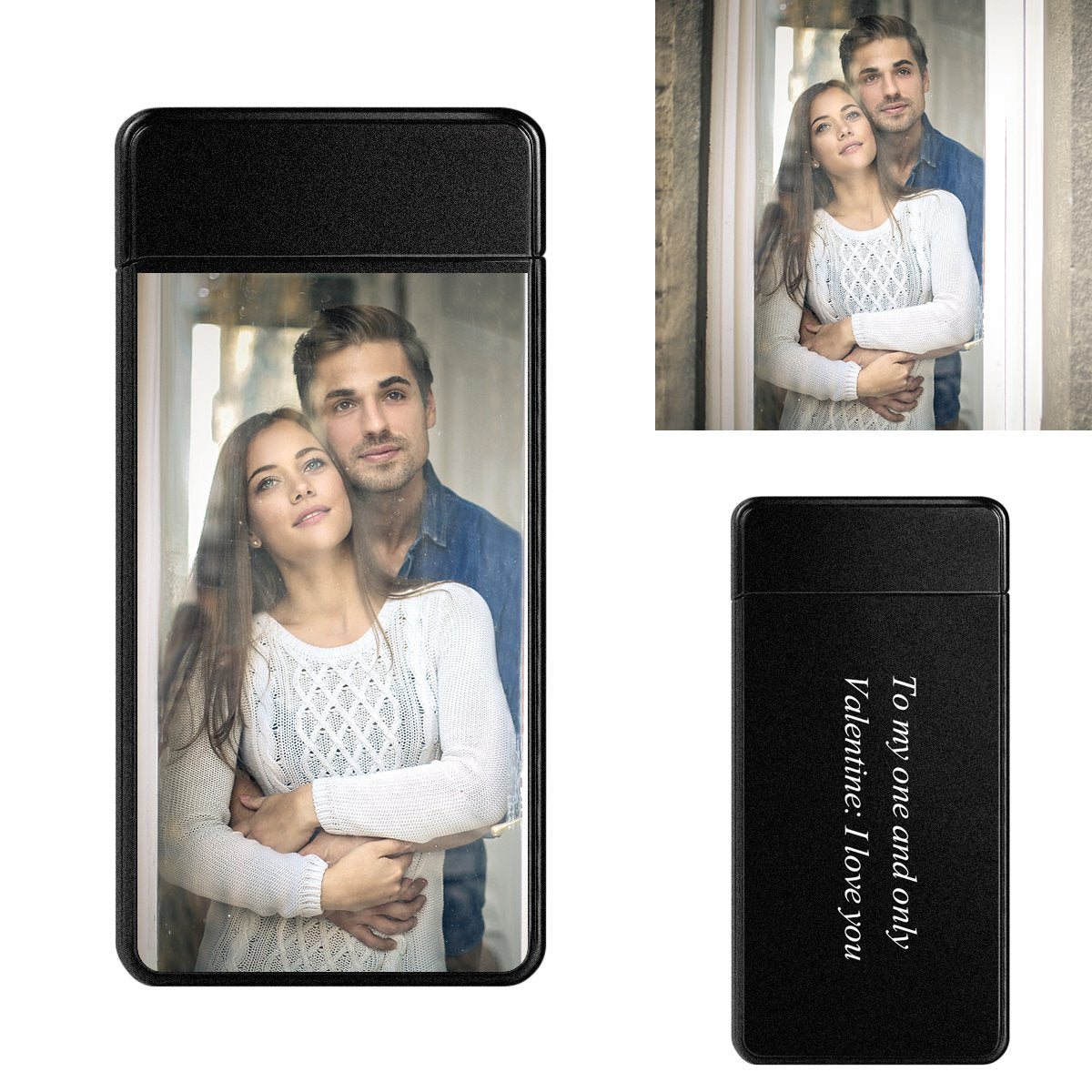 Scrub Black | Custom Engraved Photo Lighter | Color Screen | Electronic Cigarette Lighter| USB Power
