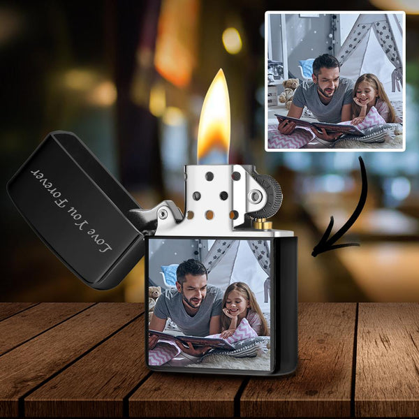 Black | Zippo Style Custom Engraved Color Photo Lighter | For Father