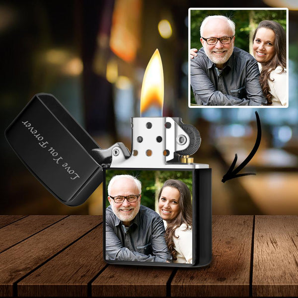 Black | Zippo Style Custom Engraved Color Photo Lighter | Best Gift For Dad