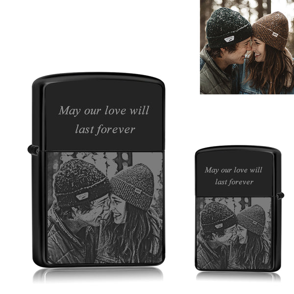 Black | Zippo Style Custom Engraved Sketch Photo Lighter | For Boyfriend