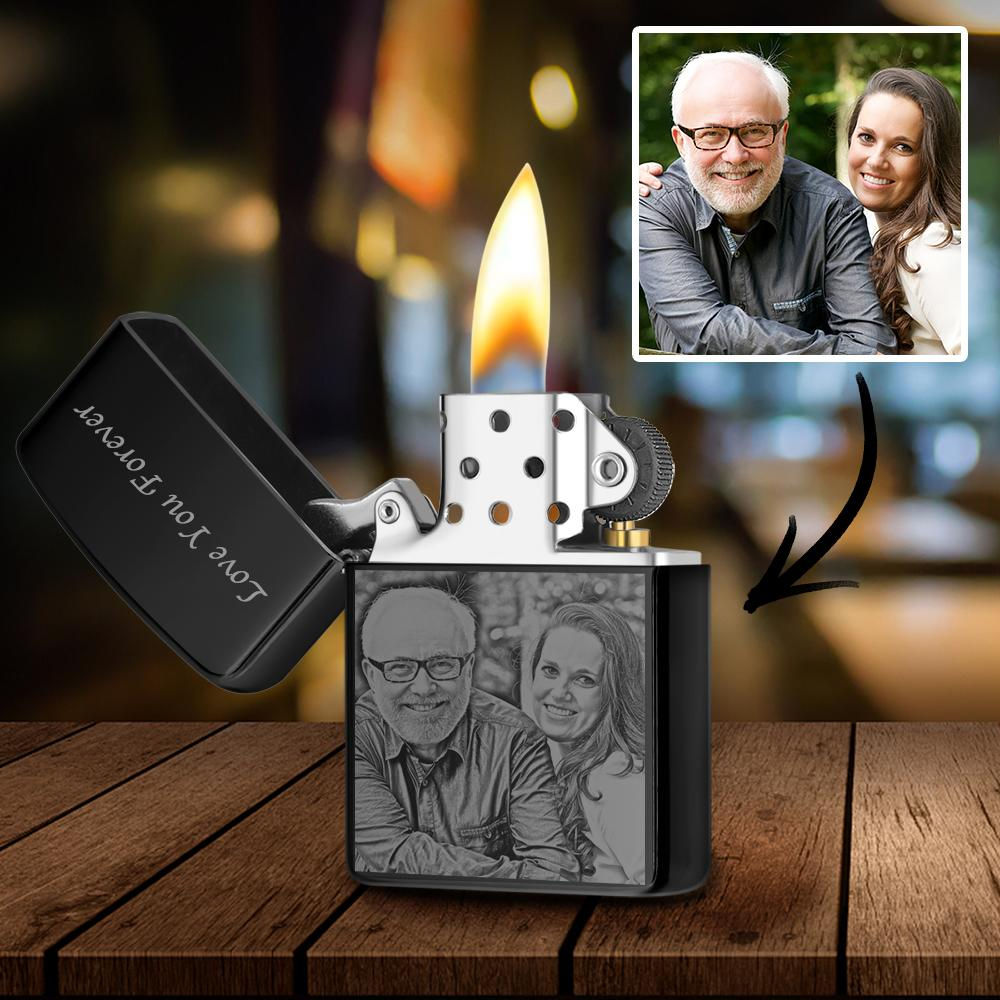 Black | Zippo Style Custom Engraved Black And White Photo Lighter | Best Gift For Father