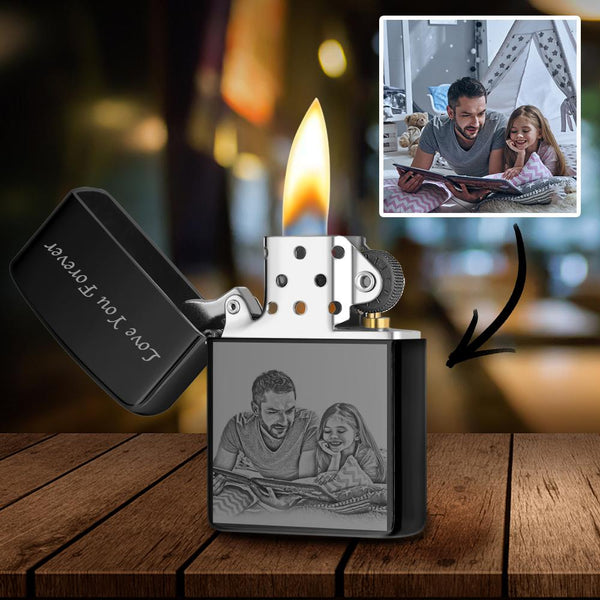 Black | Zippo Style Custom Engraved Black And White Photo Lighter | For Father
