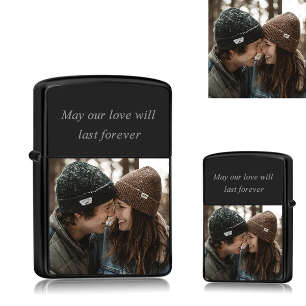 Black | Zippo Style Custom Engraved Color Photo Lighter | Best Gift For Boyfriend